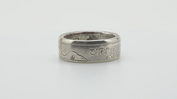 Irish Florin Silver Coin Ring Polished