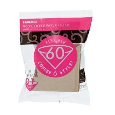 Hario V60 Unbleached Paper Filter 01 Dripper -  100 Sheets - Wexford Coffee Roasters