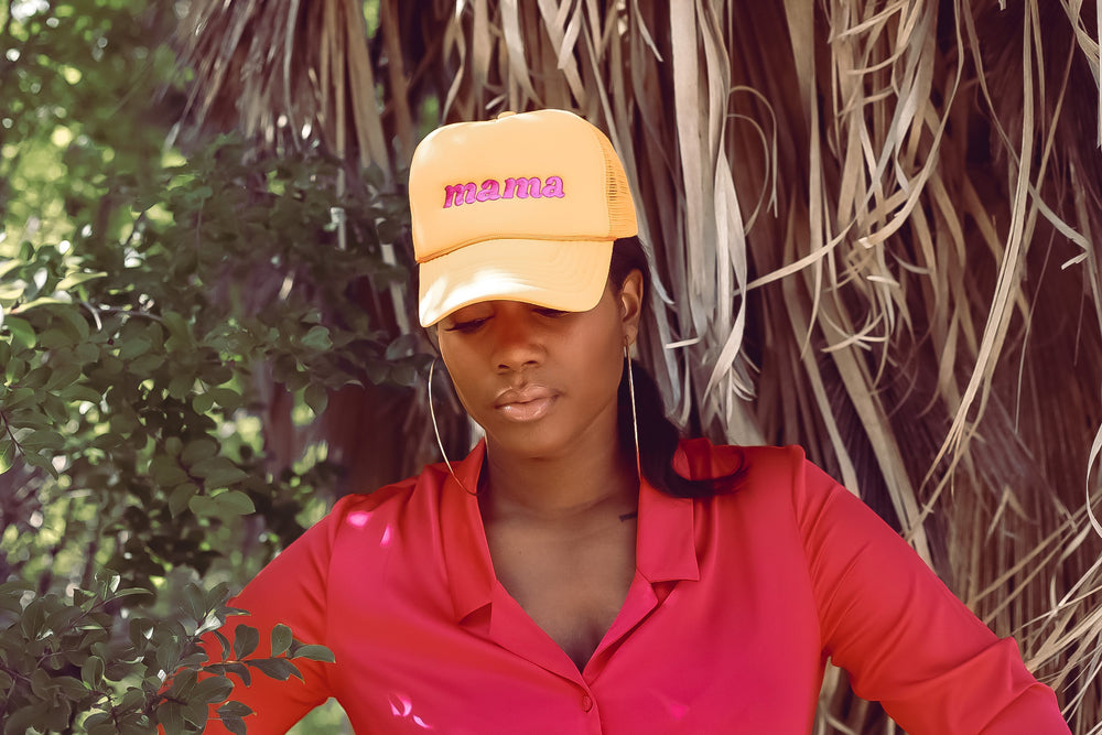 Mama Trucker Hat {Neon Orange}