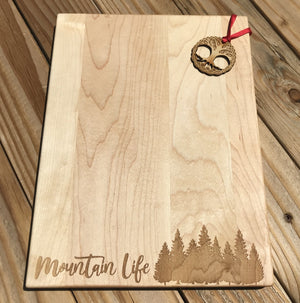 Mountain life forest laser cutting board