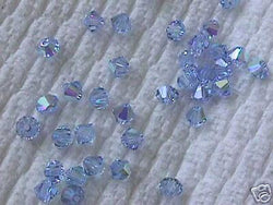 Lt. Blue AB 24 Swarovski 5301 Crystal Bicone Beads 4mm