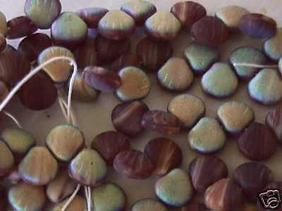 Czech Brown Cream Mud Pie Matte AB Shell Beads 8mm 25pc