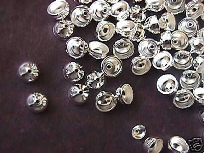 Flat Cord  Bead Cap 6mm Silver Plated  20pc