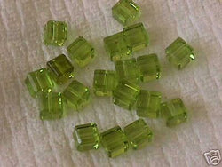 Peridot Green Celestial Crystal Cube Beads 6mm 10pc