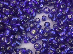 6/0 Blue Silver  Lined Seed Beads 4mm 40g