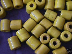 Yellow  Tube Beads 4 Hemp Purse Handle 3mm Hole 14mm