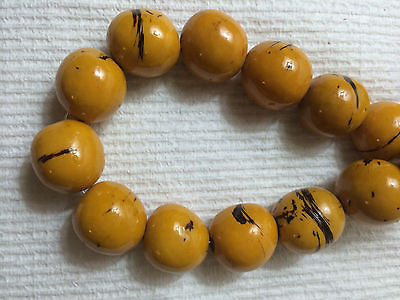 Gold Yellow Dark  Brown  Tagua Nut Beads 18mm 20mm  9pc