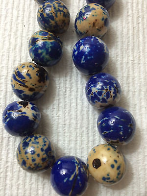 Blue Off White Black Gold Batik Tagua Nut Wood Beads 18mm 20mm  9pc