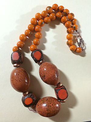 Orange Black Brown Raku Porcelain & Tagua Bead Necklace 20""