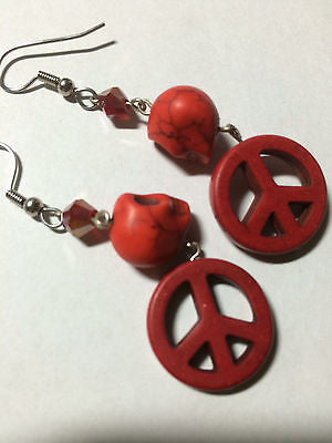 Red Magnesite Skull and Peace Sign Crystal Drop Earrings 2""