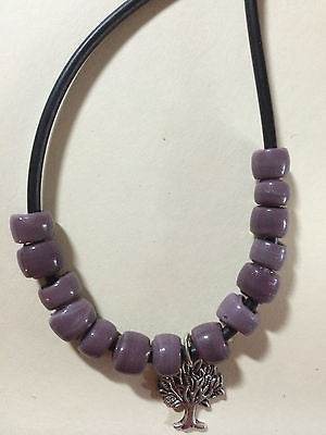 "Dusty Purple Glass Crow Bead Tree of Life Necklace 18""  Surfer Style"