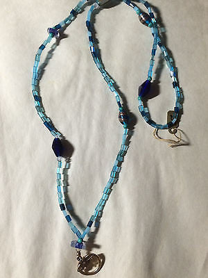 Blue Aqua Turquoise Glass and Gemstone Bead Pendant Eyeglass Holder Chain 33""