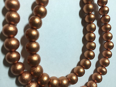 Copper Matte Silk Metallic Round Wood Beads 8mm 16""