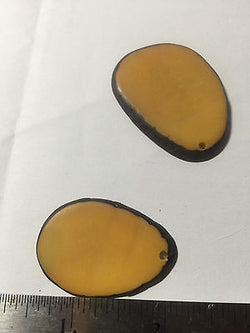 Yellow Sliced Tagua Nut Pendant Beads 3pc 35mm
