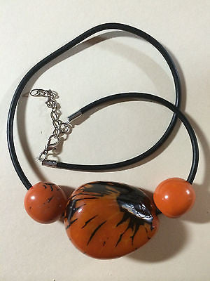Orange Black Brown Tagua Bead Choker Necklace 18""