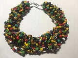 African Rasta Irie Red Green Yellow Black Collar Necklace