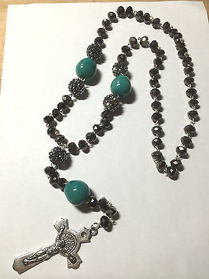 Hip Hop Brown Gray Crystal Bling Rosary Necklace