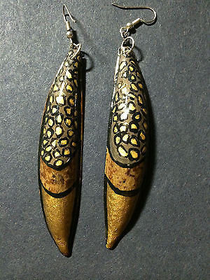 Gold Bronze Black Animal Print Organic Hand Painted Wood Pod Drop Earrings 3""