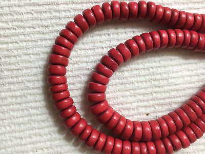 Red Wood Heishi Rondelle Beads 8mm x 4mm 16""