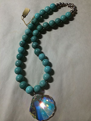 Chalk Turquoise Sterling and 40mm Swarovski Sea Shell Necklace 18""