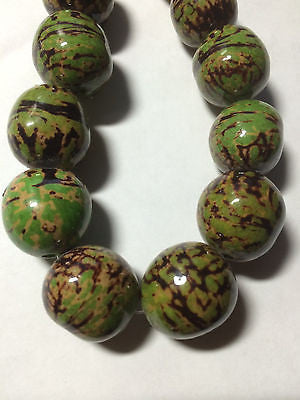 Green Yellow Gold Brown BatikTagua Nut Wood Beads 18mm to 22mm Round 8pc  G