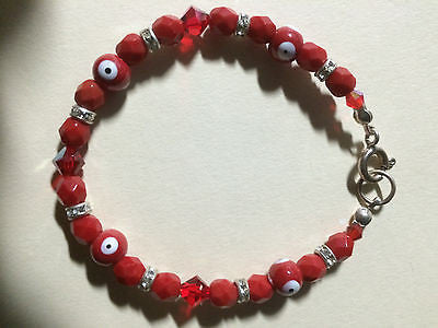 Red Swarovski Crystal Evil Eye Nazar Bracelet Sterling Clasp