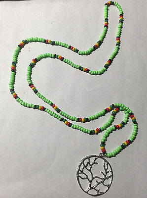 Irie Rasta Red Green Yellow Black Neon Green Tree of Life Necklace  36""
