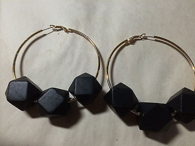 "Black Wood Bead Gold Hoop Earrings 3"" Daimeter"