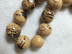Polished Natural Beige Brown Black Tagua Nut Wood Beads 18mm to 22mm Round 8pc
