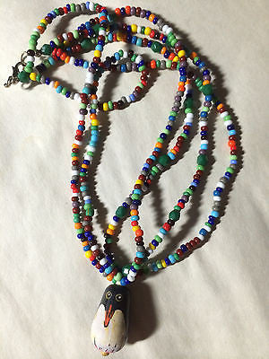 Red Yellow Blue Green Orange Penquin Triple Strand Necklace 18""