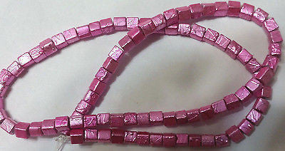 "Rose Pink Metallic  Crackle Glass Cube Beads 16 "" 4mm"