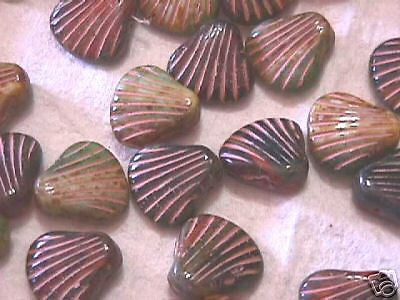 Czech Exotic Pressed Picasso Shell Beads 15mm 20pc
