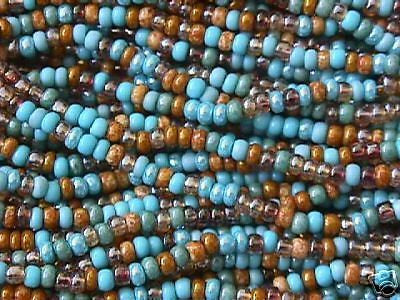 10/0 Turquoise Ivory Amber Stone Mix Czech Seed Beads 10 strands 1/2 hank