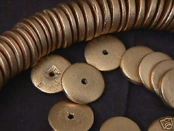 Gold Metallic 20mm Coin Disk Rondelle Wood Beads 20pc