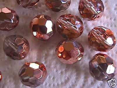 Metallic Copper Crystal Czech Fire Polished Beads 16mm