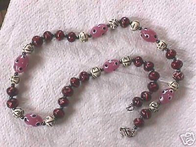 Burgandy Bone Hematite and Pink Lampwork Necklace 24""