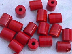 Red Coral Tube Beads 14mm Hemp Purse Handle 4mm Hole