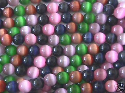 "Blue Gray Pink Lilac Cats Eye Fiber Optic Beads 16"" 6mm"