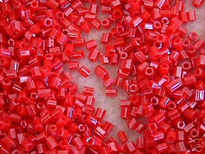 11/0 Coral Red Orange Pink Luster  Hex Cut  Seed Beads