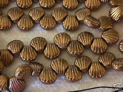 Czech Metallic Gold Bronze Sea Shell Beads 8mm 16pc