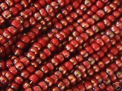 6/0 Red Jasper Gold Celsian 4.5mm Czech Seed Beads