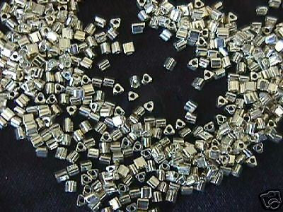 11/0 Platinum Silver Triangle Toho Seed Beads
