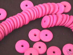 Pink 20mm Coin Disk Rondelle Space Wood Beads 24pc