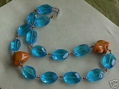 Turquoise Rock Crystal Quartz Coral Silver Necklace