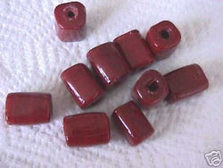 Red Brown Big Hole Cube Tube Beads 20mm Macrame 4 Hemp