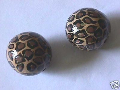 Big Hand Painted Leopard Animal Print Wood Beads 30mm