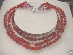 Multi Strand Swarovski & Orange Carnelian Necklace