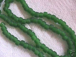 "Leaf Green Matte Frost  Crow Seed Beads 16""  6mm x 5mm"