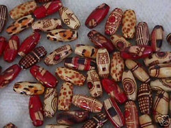 Laquer Painted Art Wood Beads 35pc Oval Macrame 4 Hemp