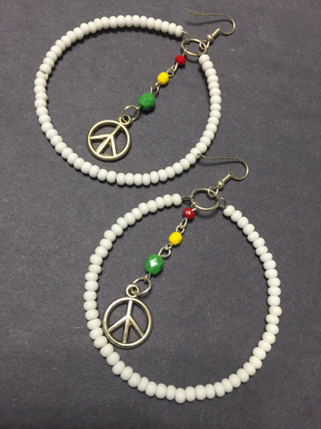Irie Rasta White Beaded Peace Sign Hoop Earrings 3""